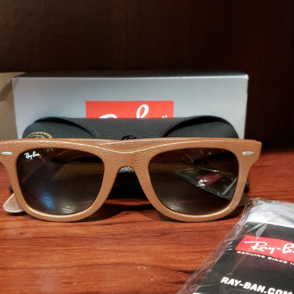 Ray Ban wayfarer leather look sunglasses